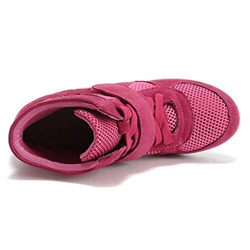Wanderschuhe Komfort Damen Rismart Turnschuhe Klassisch Rose Netzschuhe Keilabsatz Atmungsaktiv fgUwXxqU
