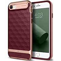 Funda iPhone 8, Caseology [serie Parallax] Protector delgado de doble capa Proteccion de buena calidad. Diseno geometrico [Borgona - Burgundy] para Apple iPhone 8 (2017) / iPhone 7 (2016)