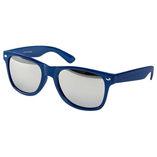 Ciffre EL-Sunprotect Sonnenbrille Nerdbrille Brille Nerd Silber Voll Verspiegelt Dunkel Blau UV400