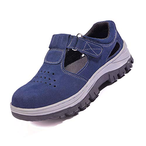 YHHF Pelle Estive Scarpe Antinfortunistiche Uomo Punta in Acciaio Leggere Traspiranti Mesh Scarpe da lavoro,Blue,43EU