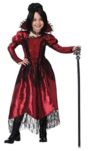 Mädchen Vampir Kostüm Zubehör - Karneval-Klamotten Vampir-Kostüm Mädchen-Kostüm Dracula-Kostüm Mädchen Vampir-Kleid Dracula-Kleid Bordeaux schwarz Luxus Horror Halloween Größe 128
