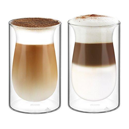 Ecooe Doppelwandige Latte Macchiato Glaser Set Thermoglas Trinkgläser Kaffeeglas 2-teiliges 350ml...