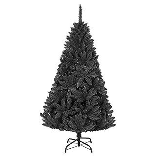 Shatchi 3542-CHRISTMAS-TREE-BLACK-5FT – Árbol de Navidad de madera de pino imperial negro azabache, decoración para el hogar, fácil de instalar, con bisagras, 308, 150 cm, 1,5 m, 404 puntas