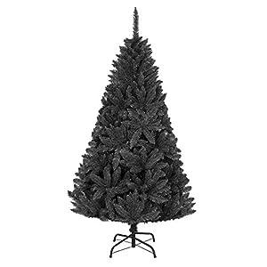 Shatchi 3542-CHRISTMAS-TREE-BLACK-4FT - Árbol de Navidad de madera de pino imperial de color negro azabache de 120 cm y 1,2 m