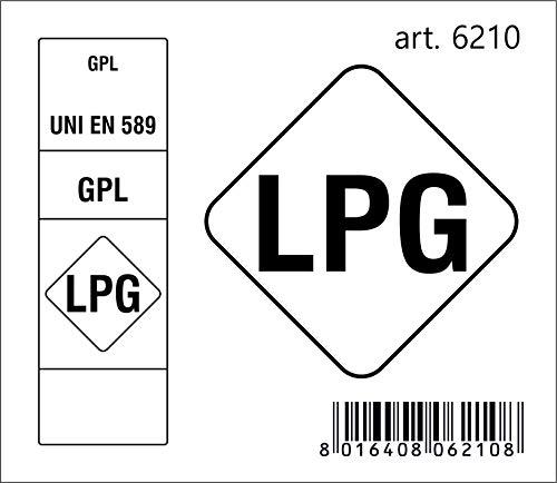 Quattroerre 6210 Adesivo Sigla Carburante LPG GPL 2018, 6,5 x 7,5 cm