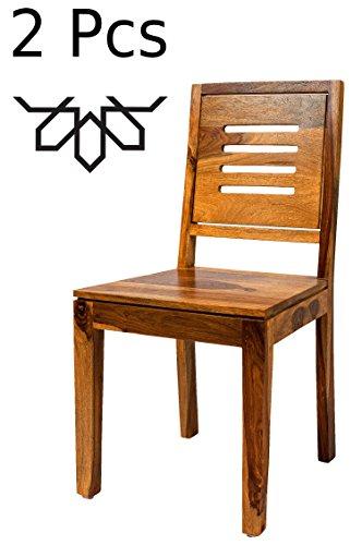 MAADES 2er Set Esstischstuhl Stuhl aus Holz Massiv Clyde   Vintage Stühle aus Sheesham Massivholz...