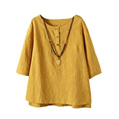 6e824abeebe40 Voguees plus size. Vogstyle Women s New Cotton Linen Tunic Tee Shirt  Jacquard Tops