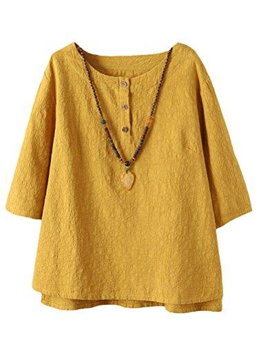 Damen Leinen (Vogstyle Damen Baumwoll Leinen Tunika T-Shirt Jacquard Oberseiten Yellow L)
