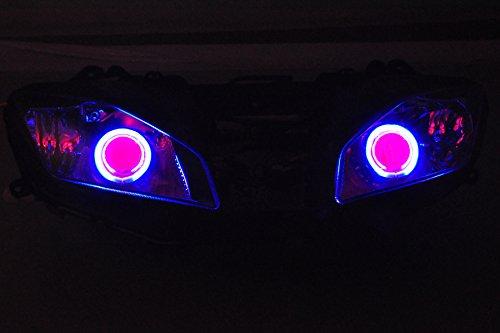 Gowe ABS Projektor Lampen Scheinwerfer blau Angel Eye + Red Devil Eye für Yamaha YZF R62008-201220082009201020112012[dd10-br]