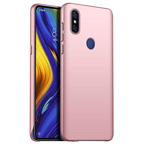 UoQi para Xiaomi Mi Mix 3 Funda, Ultra Slim Fina de Duro Funda, [Anti-caída] [Anti-Shock] Protección Carcasa para Xiaomi Mi Mix 3 Smartphone. Oro Rosa