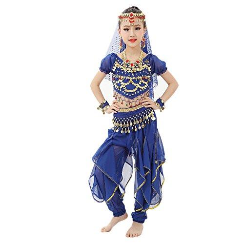 Lonshell Tanzkleidung für Kinder Mädchen Bauchtanz Kostüm Outfit Chiffon Kurzarm Tops + Hose Anzug Ägypten Tanz Belly Dance Performance - Spanischer Tanz Kostüm Mädchen
