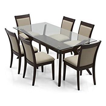 Urban Ladder Wesley Dalla Six Seater Dining Table Set (Dark Walnut)