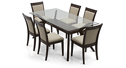 Urban Ladder Wesley Dalla Six Seater Dining Table Set (Dark Walnut)