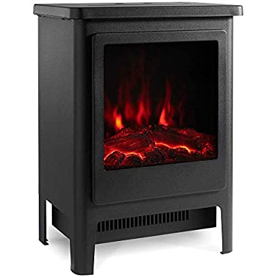 VonHaus 1900W Stove Heater - Electric Fireplace/Stove Heater with LED Flame Effect - Freestanding & Portable Design with Overheat Protection - Black Metal with Glass Door