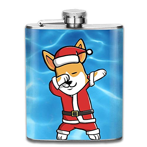 Dabbing Corgi Ugly Christmas Sweater Stainless Steel Liquor Flagon Retro Pocket Flask\Stainless Steel Travel Flask Great Little Gift,Safe And Nontoxic -