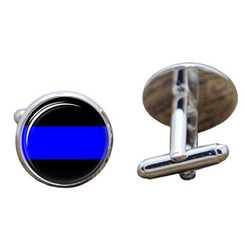 DÜNN Blau Line Polizei Glas cosplay Manschettenknöpfe