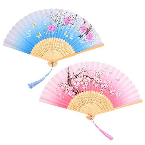 LABOTA 2 Stücke Handfächer Bambus Fans mit Quaste Frauen Ausgehöhlten Bambus Hand Halten Fans für Wanddekoration, Geschenke, Hochzeit Party Karneval