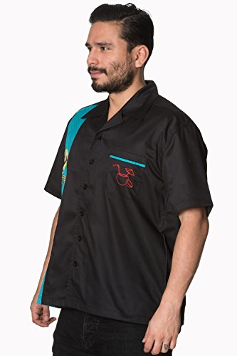 Verbotenes Mens Little Minx Retro Bowling Rockabilly Shirt Black