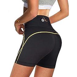 Chumian Short De Sudation pour Femmes Minceur Legging Néoprène Sauna Pantalons Amincissant pour Sport Fitness Panty (Noir, M)