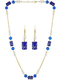 AccessHer Blue Beads With Gold Chain Necklace For Women
