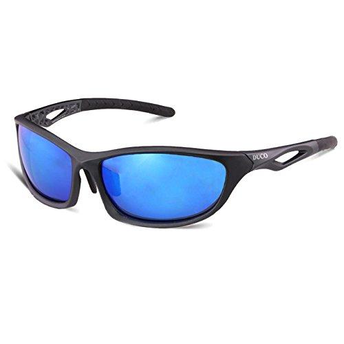 DUCO polarisierte Sonnenbrillen fürs Angeln Golf Outdoor Sportaktivitäten bruchfeste Sonnenbrille für Frauen und Männer TR90-Rahmen 6211 (Gunmetal Rahmen Revo Blau Linse)