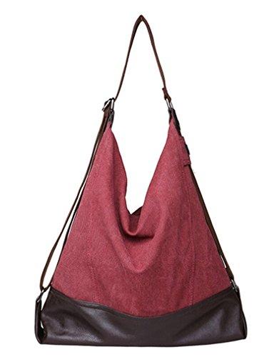 Tiny Chou Vintage da donna, in tela, stile pescatore in pelle Borsa a tracolla, borsa a tracolla da viaggio, grande Rosso (Claret-red)
