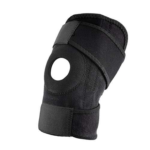 Heraihe Entraînement Sportif Ajustable Patella élastique Support Sportif Support orthèse rotule Trou Genou-Pad Sangle de sécurité
