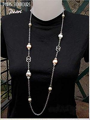 Sautoir grandes perles nacrées cristal Swarovski