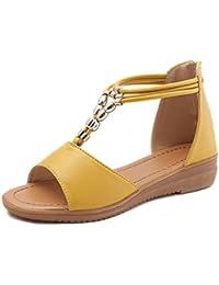 Sandalen Damen Sommer Flach LUCKYCAT Damen Fischmund Offene Weiche  Unterseite Zehen Sandalen Schuhe RöMische Schuhe… 0575df6ae0
