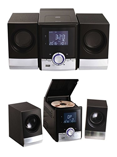 Bluetooth Stereoanlage mit CD-Player Radio Wecker Stereoradio AUX-In Musikanlage Fernbedienung (USB, 2 Lautsprecher, LCD Display, Hintergrundbeleuchtung)
