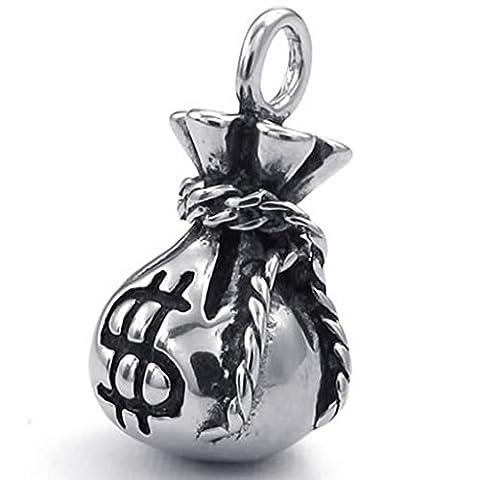 Edelstahl Halsketten, Unisex Anhänger Halsketten Dollar Sign Purse Silber 18 26