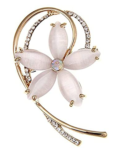 GnZoe Stainless Steel Women's Brooch and Pin Flowers Modern Champagne
