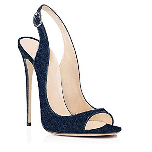 Frauen Sandalen Denim Peep Toe Stiletto Heels flachen Mund gesetzt Fuß Sandalen Sommer, Navyblue,35EU - Denim Peep-toe