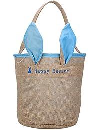 Bolsa regalo conejo Pascua - Bolsa regalo tela conejo orejas yute caramelo galleta joyas bolsa reutilizable