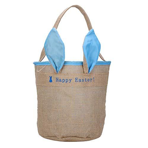 Easter Bunny Basket für Kinder, Rabbit Ears Jute Sackleinen Geschenkbeutel für Eier Candy Cookie Snack Storage(Blau)