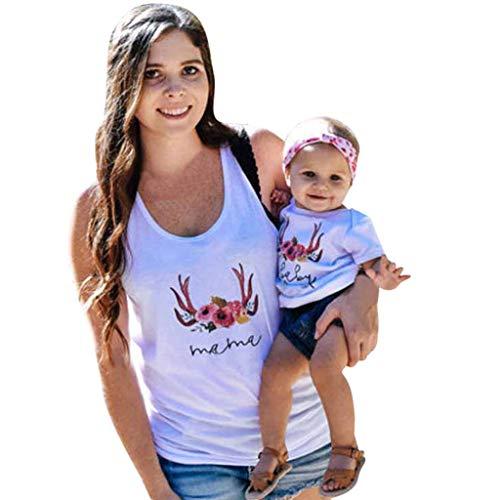 HOSOME Damen Träger-T-Shirt, schulterfrei, lockerer Sommer, O-Ausschnitt, Kurze Ärmel, Basic Tee Bluse - Weiß - Klein - Bambus Ärmellose Bluse