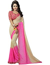 Krishnam Fashion Daily Wear Georgette Saree With Blouse Piece ( Multicolour,Free Size,Pack Of 1)