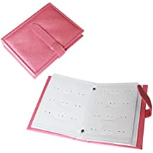 Pink Earring Jewellery Storage Holder Book by Kurtzy - Holds 42 Pairs of Stud, Hoop and Dangly Earrings - 4 Display Pages with Adjustable Slip Strap Closure - Earring Holder Booklet for Travel