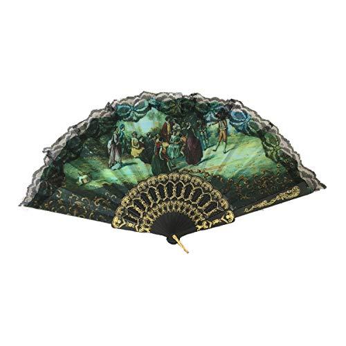 Cisne 2013, S.L. Abanico Calado Negro y Dorado de Madera y Tela, diseño Cuadro renacentista Elegante con Fondo Verde. Medidas 21cm.
