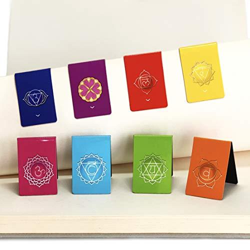 Chakra Segnalibri Magnetici in Spagnolo con Informazioni sui Chakra - Bellissimo Design Mandala (2,7 cm x 4 cm piegato, 8 pezzi)