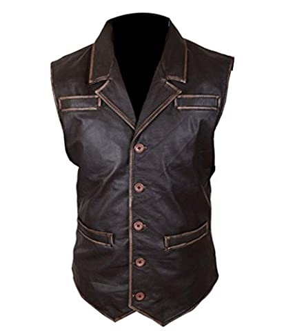 F&H Men's Hell On Wheels Cullen Bohannan Distressed Cowhide Leather Vest 5XL Brown
