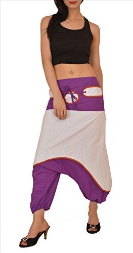 gonne e sciarpe SNS 100% puro cotone harem Sarouel yoga pantaloni pigiama Purple & White