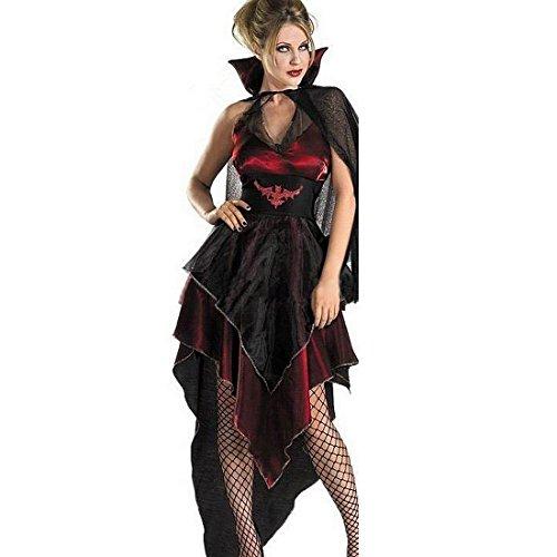Karneval-Party-Teufel Dämon Monster Kostüm Vampir Kleid Dame schwarz,Size M