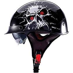 Po Casque de Moto, Open Face, Jet Helmet Cruiser Casque Moto Pilot Scooter Casque Bobber Scooter Vintage Cyclomoteur Casque rétro Chopper · Certifié · Pare-Soleil,A,XXL