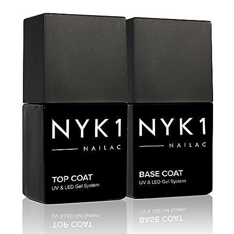 NYK1 Professional Gel Polish Nail Top and Base Coat Both UV and LED Compatible NAILAC Soak Off