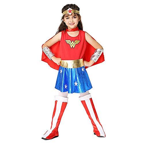 Halloween Kinder Wonder Woman Kostüm Mädchen Cosplay Anime Kostüm spielt Superman Anzug,Rot,S (Kostüm Für Schule Spielt)