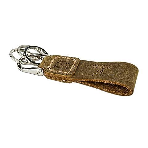Echtleder Schlüsselanhänger in Handarbeit hergestellt! Schlüsselband aus Leder für Damen und Herren, Unisex - verschiedene Farben! (Hellbraun)