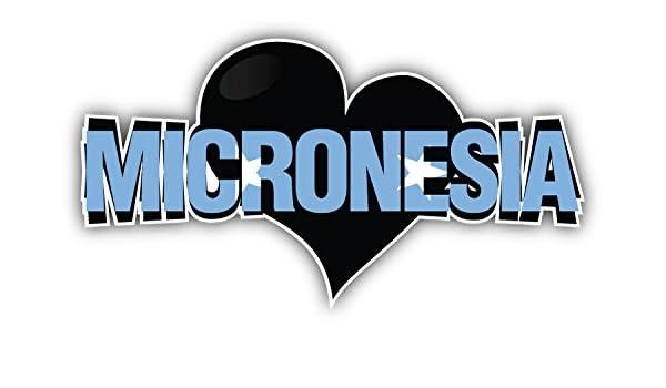 novland Micronesia Art Heart Flag Travel Slogan Car Bumper Sticker Decal 6 X 3