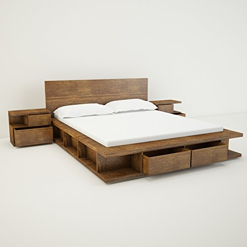Amaani Furniture's Solid Wood Queen Size Bed with Storage (Sunwarmed Sand)