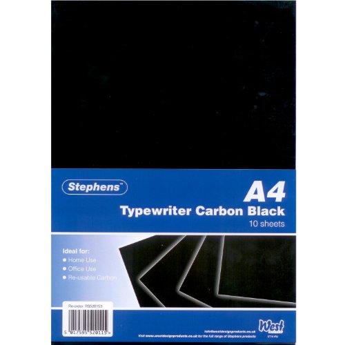 Stephens RS520153 Kohlepapier für Schreibmaschinen, 10 Blatt, schwarz